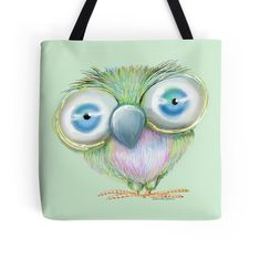 'Burt the Big-Eyed Bird' Tote Bag by Cherie Roe Dirksen Stocking Fillers, Print Store, Big Eyes, Duffel Bag, Gifts For Girls, Fine Art Prints, Great Gifts, Character Design, Owl