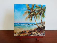 Ideas For Painting Canvas Beach Palm Trees Small Canvas Paintings, Small Canvas Art, Mini Canvas Art, Small Paintings, Seascape Paintings, Original Paintings, Painting Canvas, Palm Tree Sketch, Tree Sketches