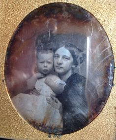 Very sweet daguerreotype of a mother and child. Makes for a nice addition to any collection. Has been resealed with p90 filmoplast Lose with no case or brass trim.