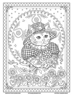 Adult Coloring Pages Books Sheets Cats Kittens Tattoo Ideas Creative White Paper Birdhouse