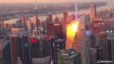 EarthCam teamed up with Affinia Dumont and Hyatt Regency Jersey City to deliver live views of New York City. Explore Midtown Manhattan and get the perfect look at some of the city's most recognizable landmarks, including the impressive Chrysler Building. Nyc Skyline, Chrysler Building, Jersey City, Live In The Now, New York City, Times Square, Explore, Sunset, Travel