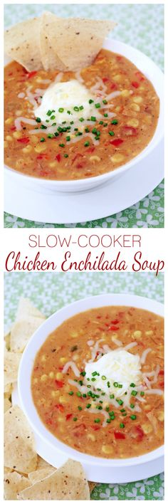 All the delicious flavors of your favorite enchiladas brought to life in a creamy, cozy slow-cooker soup!