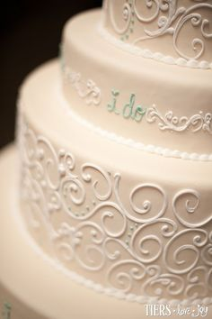 """I Do"" Wedding Cake with Piped Scrolling by Beverly's Best Bakery. I like this tiny detail!"