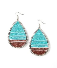 ... on #zulily! Turquoise & Brown Beaded Teardrop Earrings #zulilyfinds