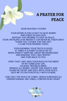 Seek the peace that God promises when minds are anxious. Prayer For Guidance, Prayer For Peace, Prayer For Today, Prayer For Family, Faith Prayer, God Prayer, Prayer Times, Prayer Scriptures, Bible Prayers