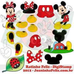 Ratinho Feliz, Rato, Rat, mouse, camundongo, Mickey Mouse, Minnie, Happy Mouse, Digital Kit, Templates