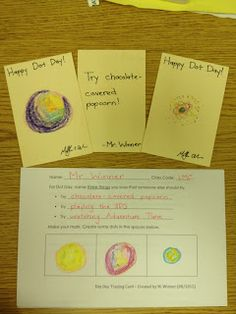 The Busy Librarian: Dot Day Lesson Seeds 2014 Library Lesson Plans, Library Lessons, Art Lessons, Library Ideas, Day Trading, Trading Cards, International Dot Day, School Tool, School Stuff