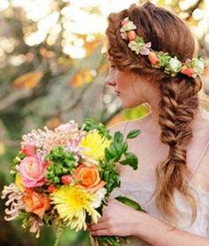 Bride Flower crown herringbone braid