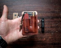 Chestnut EDC Card Caddy, Leather Card Wallet  for Everyday Carry
