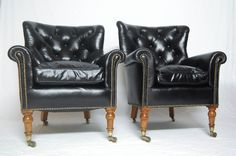 A Rare Pair of Early Victorian Bergere Library Chairs by Holland & Sons
