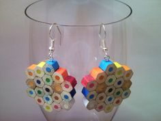 Coloured playful pencil crayon earrings with silver, bronze, 925 sterling silver ear wires - large colourful mottled, dotted, spotted flower by CreativeFunny on Etsy https://www.etsy.com/listing/150906061/coloured-playful-pencil-crayon-earrings