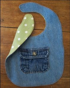 Bib Made From Jeans With Contrasting Fabric