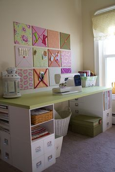 Organized craft room / sewing room.