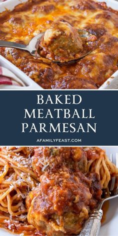 Baked Meatball Parmesan - A Family Feast® Baked Meatball Parmesan is delicious Italian comfort food! Tender Italian-style meatballs smothered in homemade tomato sauce and covered in three types of cheese – then baked until hot and bubbly! Yummy Pasta Recipes, Casserole Recipes, Dinner Recipes, Cooking Recipes, Comfort Food Recipes, Crowd Recipes, Lemon Dessert Recipes, Comfort Foods, Easy Recipes