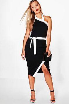 Plus Indea Wrap Front High Neck Midi Dress