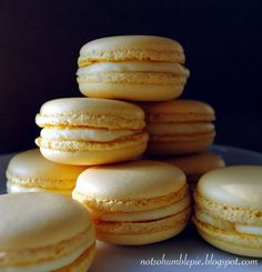 Lemon Mascarpone Macarons from Not So Humble Pie.  Look GREAT! Lemon curd, lemon zest and mascarpone for the filling.