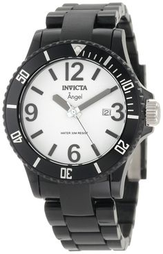 Invicta Women's 1208 Angel White Dial Black Plastic Watch -- Awesome product. Click the image