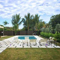 Back yard paradise Tropical Backyard Landscaping, Backyard Plan, Outdoor Landscaping, Backyard Ideas, Zoysia Grass, Cement Pavers, Clusia, Florida Style, Horizontal Fence