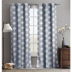 Duck River Textiles Crystina Jacq 76 inch x 96 inch Grommet Pair Panel, Blue
