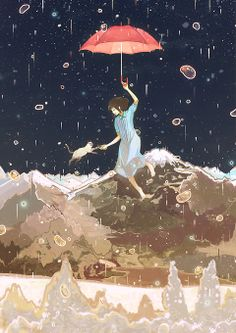 """「雨が帰る夜」/「げみ」のイラスト [pixiv] (""""Ame ga Kaeru Yoru"""" - """"The Night the Rain Came Home/Returned"""" - or maybe the cat's name is Ame/Rain . . . )"""