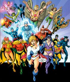 Power Girl of the new Earth-2 leads Justice Society Infinity's charge to Earth-0. From Justice Society of America v.3 Annual #1 (2008); art by Jerry Ordway and Bob Wiacek.