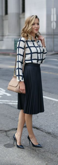 navy and white windowpane blouse, navy pleated midi skirt, navy patent pointed…