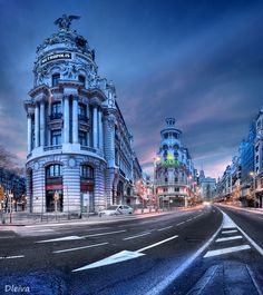 Gran Via in Madrid, Spain - a very busy part of Madrid. Great people and architecture watching on this strip.