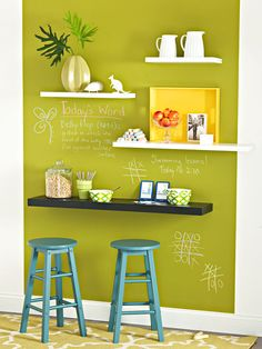 In the office: stagger shelving, use one as a workspace/desk & (not green)!