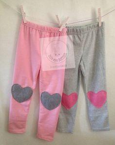 Little girls pink heart knee patch leggings