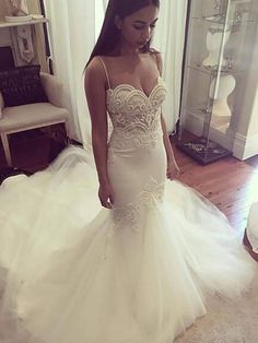 Trumpet/Mermaid Spaghetti Straps Sleeveless Chapel Train Tulle Wedding Dresses - Wedding Dresses - Hebeos Online