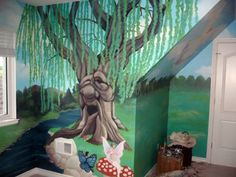 3D Wall Murals of trees | Negative space allows for placement of crib and eventual bed that ...