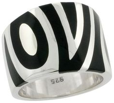 Sterling Silver Black Enamel Ring for Women Zebra Stripes Hefty Flawless Finish 58 inch size 8 ** Details can be found by clicking on the image.-It is an affiliate link to Amazon. #Rings