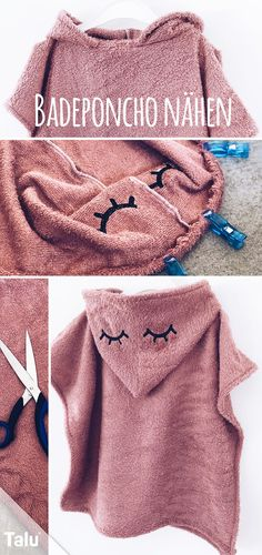 Sewing poncho for baby / child - Instructions with hood - T Badeponcho nähen fürs Baby / Kind – Anleitung mit Kapuze – Talu.de Instructions – Sew a bath poncho – Hooded towel – Talu. Love Sewing, Baby Sewing, Sewing Projects For Beginners, Knitting Projects, Diy Projects, Sewing Patterns Free, Knitting Patterns, Crochet Patterns, Diy Mode