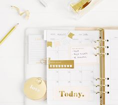 LEATHER PERSONAL PLANNER BRUSHED GOLD LARGE: PAUSE GULD