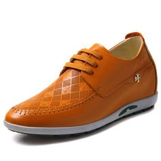Yellow  extra height shoes for men 6cm / 2.36inch with the SKU:MENGOG_44005 - Elevator fashion leisure shoes make men tall 6cm / 2.36inches yellow leather height casual shoes