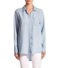 Splendid Hi-Lo Denim Shirt ($155) ❤ liked on Polyvore featuring tops, apparel & accessories, light wash, shirts & tops, longsleeve shirts, blue long sleeve shirt, blue top and splendid tops