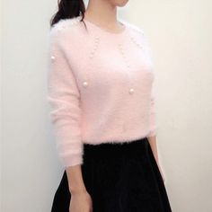 Pink Sweater 2017 Spring Korean Style Cute Pearl Beading Knitted Women Sweaters and Pullovers Soft Knitwear pull femme 2134