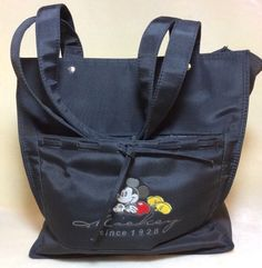 """DISNEY STORE EMBROIDERED{MICKEY}11""""BLACK MULTI SECTION MESSENGER/TOTE BAG(EX CON"""