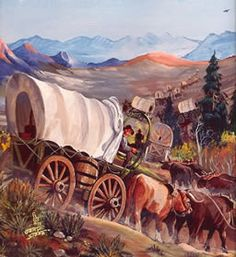 Oregon Trail Paintings at the National Oregon/California Trail Center in Montpelier Idaho Native American History, Native American Indians, Montpelier Idaho, Mormon Trail, Westerns, Wagon Trails, Western Art, Western Crafts, Old Wagons