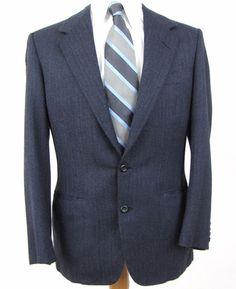 Oxxford Clothes Manhattan Blazer 39R Wool Silk Herringbone Vented Blue Blazer #OxxfordClothes #TwoButton