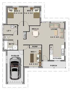 3 Bedroom House Plans Garage Beach Small