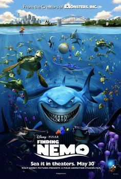 """Pixar's Finding Nemo was first released on May and surpassed The Lion King as the highest-grossing animated film of the time. """"Andrew Stanton pitched his idea and story to Pixar head John. Finding Nemo Cast, Finding Nemo Poster, Finding Nemo Movie, Finding Dory, Film Pixar, Pixar Movies, Disney Movies, Comedy Movies, Film D'animation"""
