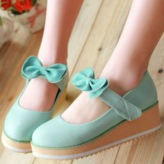 New 2014 women's platform wedge shoes,designer brand bow princess round toe beige/pink/blue/yellow leather shoes35-43 $36.17 - 39.13