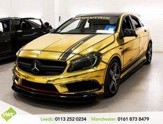 Mercedes A45 Amg, Mercedes Car, Mercedes A Class, Mr 2, Gold Chrome, Black Edition, Diy Car, Car Wrap, Sewing Hacks