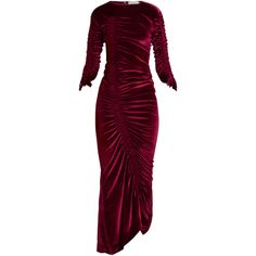 Preen By Thornton Bregazzi Hitch round-neck ruched velvet dress (€1.155) ❤ liked on Polyvore featuring dresses, burgundy, pastel purple dress, ruched dress, twist dress, round neck dress and shirring dress