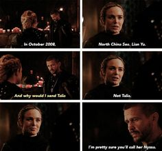 """I'm pretty sure you'll call her Nyssa"" - Sara and Ra's Al Ghul #LegendsOfTomorrow"