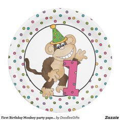 First Birthday Monkey party paper plate  sc 1 st  Pinterest & Little Man Hipster Mustache Birthday Party | Custom Party PAPER ...