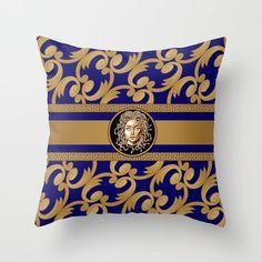 Green Throw Pillows, Couch Pillows, Down Pillows, Blue Throws, Designer Throw Pillows, Medusa, Pillow Design, Pillow Inserts, Tech Accessories
