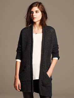 Textured Cocoon Long Cardigan
