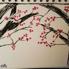 【timetripper_hipster】さんのInstagramをピンしています。 《Not finished yet but working on this beautiful cherry blossom ink drawing what do you guys think.  #cherryblossoms #cherryblossom #inkbrush #kurecolourpen #Japan #beautiful #unfinished #drawing》